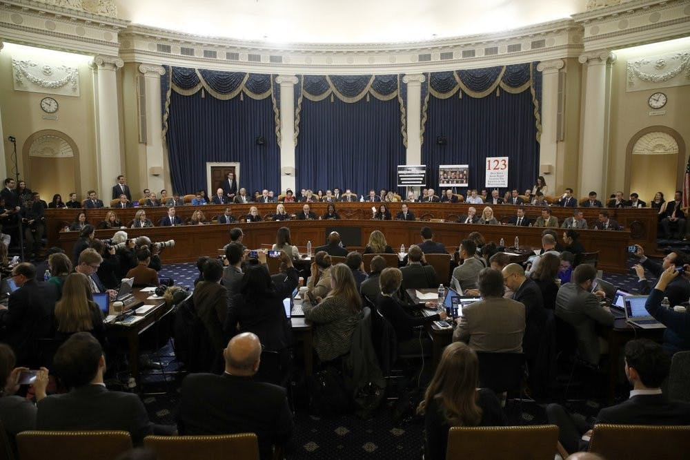 <p>Member of the committee work during a House Judiciary Committee markup of the articles of impeachment against President Donald Trump, Friday, Dec. 13, 2019, on Capitol Hill in Washington. Trump impeachment goes to full House after Judiciary panel approves charges of abuse of power, obstruction of Congress.<strong> (AP Photo/Patrick Semansky, Pool)</strong></p>