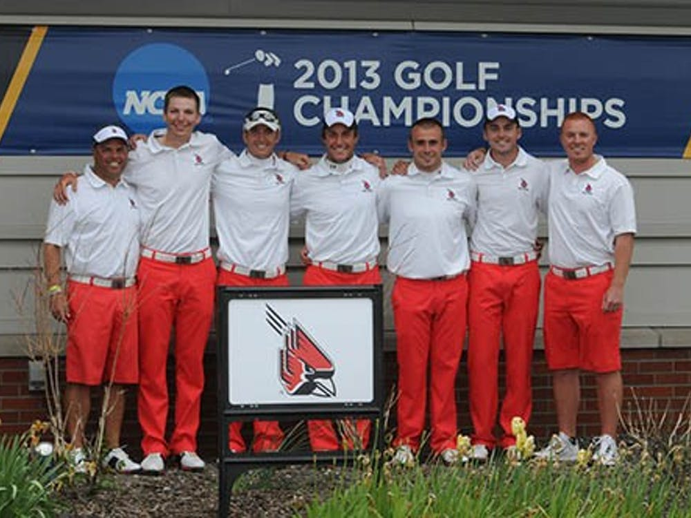 The golf team celebrates their fifth place finish in the Pullman Regional this past weekend. The team will advance to the NCAA National tournament. PHOTO PROVIDED BY BSU ATHLETICS