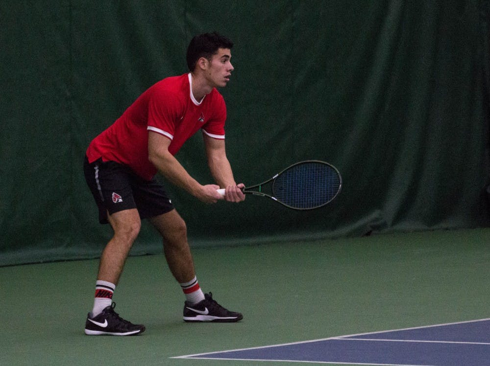 Ball State tennis players Matt Helm and Tom Carney play against Eastern Illinois players Jared Woodson and Freddie Ammer in the match on Jan. 22 at Muncie's Northwest YMCA. The Cardinals won 6-1. Grace Ramey, DN File