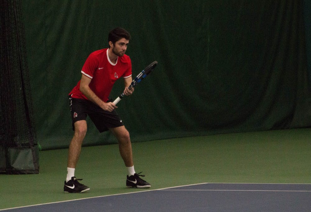 Ball State tennis players Tom Carney and Matt Helm play against Eastern Illinois players Jared Woodson and Freddie Ammer in the match on Jan. 22 at Muncie's Northwest YMCA. The Cardinals are playing in the MAC Indoor Nov. 10-Nov. 12 in Michigan. Grace Ramey, DN File