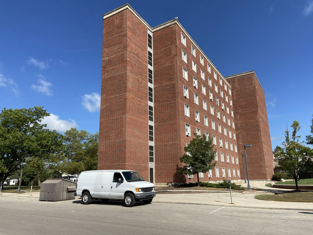 <p>The Brayton/Clevenger wing of LaFollette stands separate from the demolition of other wings Sept. 3, 2020. On-campus students who test positive for COVID-19 are isolated in Brayton/Clevenger. <strong>Grace McCormick, DN</strong></p>