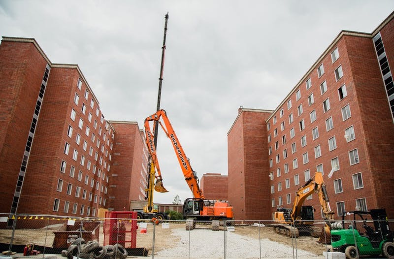 Demolition began on the north section of the northeast tower of the LaFollette Complex on June 7. The $3.4 million demolition project will continue throughout the summer. Reagan Allen // DN