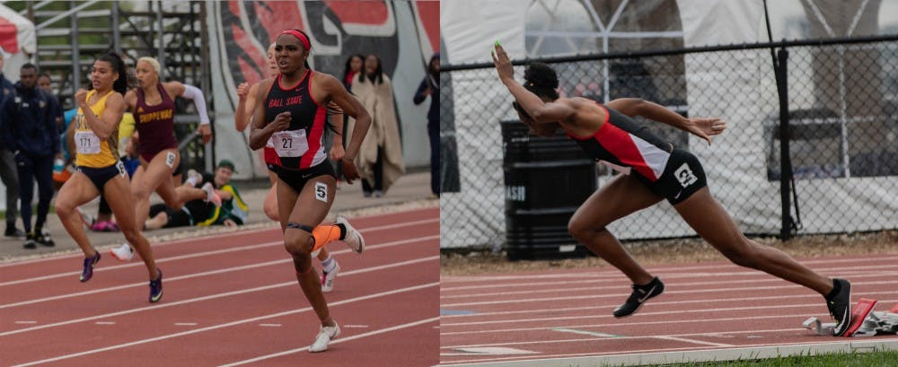 Bryeana Byrdsong and MaQuila Norman run at the MAC Outdoor Championships, held May 9-11, 2019 at Ball State's Briner Sports Complex. Byrdsong and Norman qualified for the NCAA East Preliminary Championships held in Jacksonville, Florida. Rohith Rao, DN