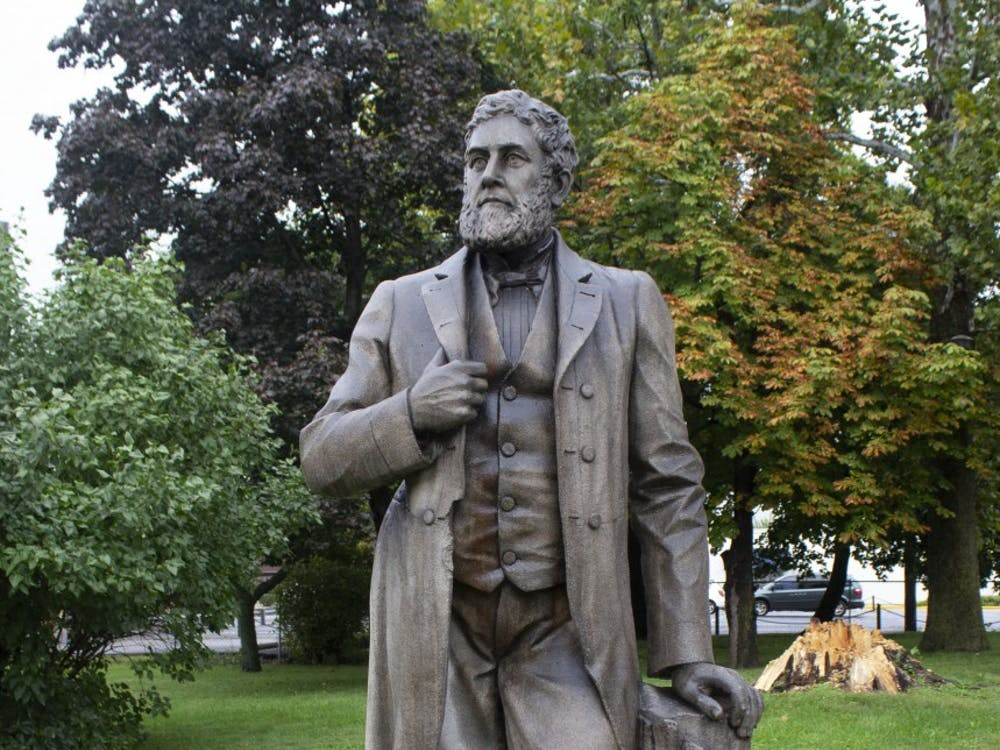 The statue of Charles Willard stands proudly outside the Delaware County Historical Society at 120 E. Washignton St. The statue will be unveiled to the public on Oct. 4. Patrick Murphy,DN