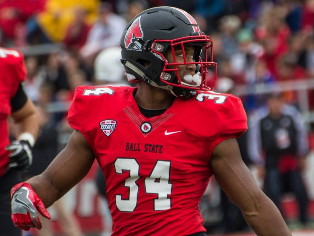 Cardinals running back James Gilbert got the final three carries of the Ball State drive, capping it off with a 3-yard touchdown run. Ball State football opens the 2017 season against Illinois Saturday at noon. Grace Ramey, DN