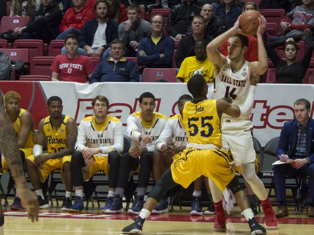 Ball State men's basketball played Kent State Feb. 9 in John E. Worthen Arena. The Cardinals won 87-68.