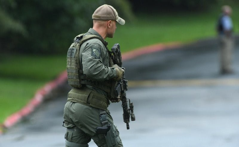 """Authorities respond to a shooting in Harford County, Md., Thursday, Sept. 20, 2018. Authorities say multiple people have been shot in northeast Maryland in what the FBI is describing as an """"active shooter situation."""" AP Photo"""