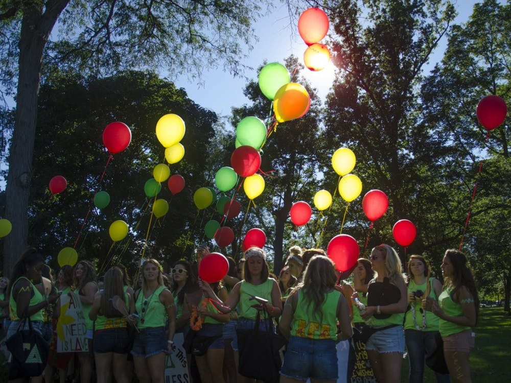 Ten sorority chapters and their new members filled the Quad on Sept. 8 for Bid Day.