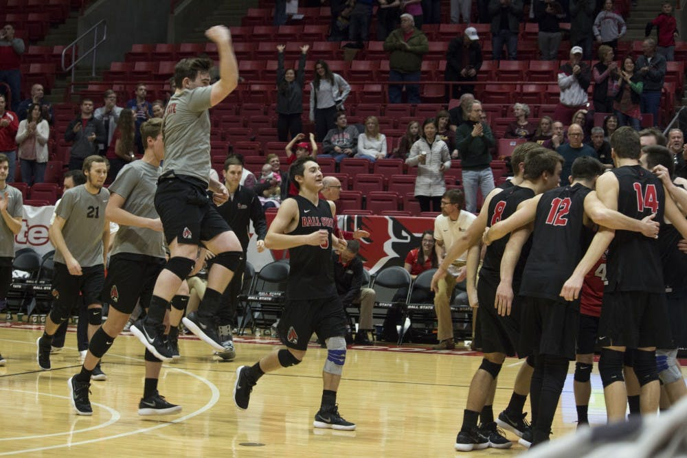 <p>The Ball State men's volleyball team celebrates after winning the game against Loyola University on Feb. 17 at John E. Worthen Arena. Loyola had won eight straight games before being defeated by Ball State. <strong>Briana Hale, DN</strong></p>