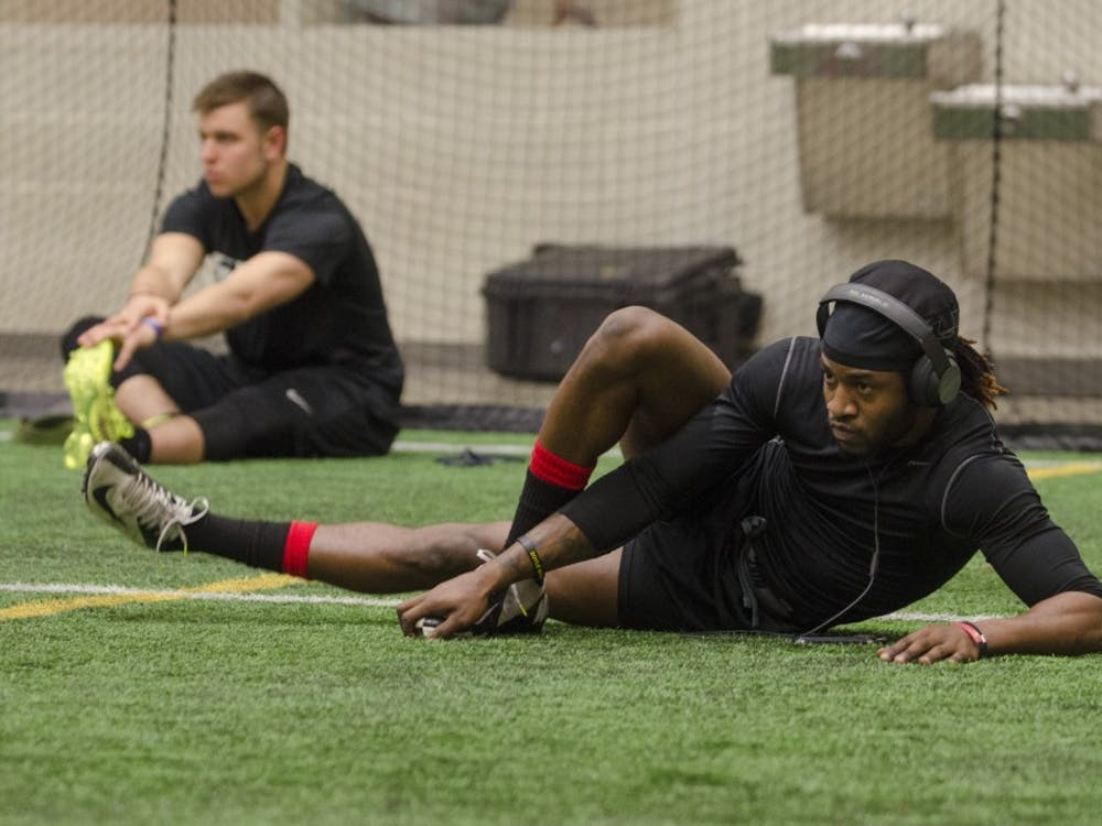 Former Ball State football players and players from surrounding colleges participated in Pro Day March 27 at the Student Recreation and Wellness Center.