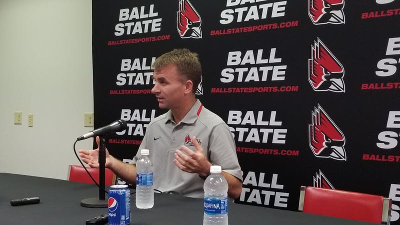 Ball State men's basketball coach James Whitford, who enters his fifth season as head coach, addresses the media on Oct. 24, 2017 in Worthen Arena. Robby General, DN