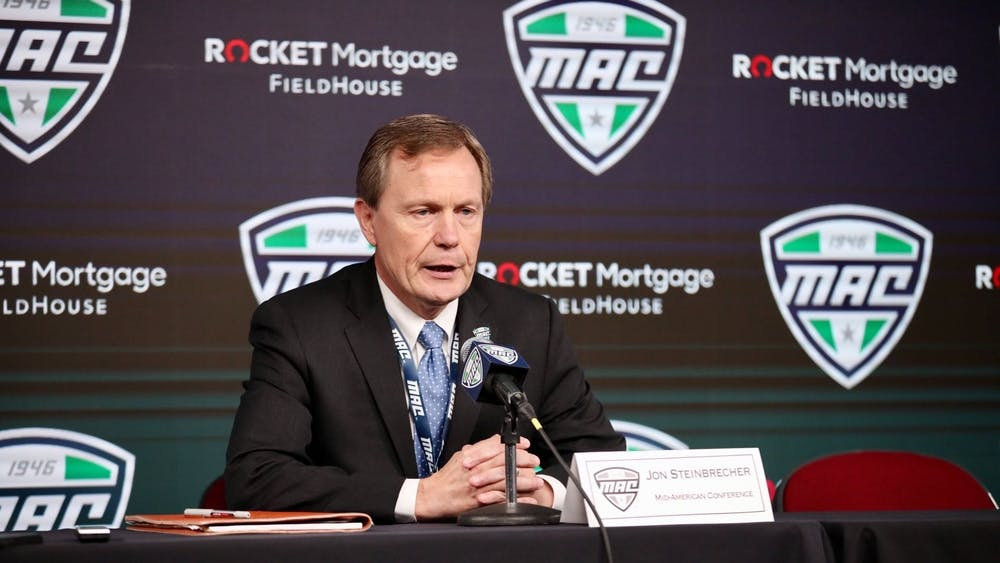 Mid-American Conference commissioner Jon Steinbrecher announced the cancellation of the MAC Tournament over concerns of COVID-19 on March 12. Jacob Musselman, DN