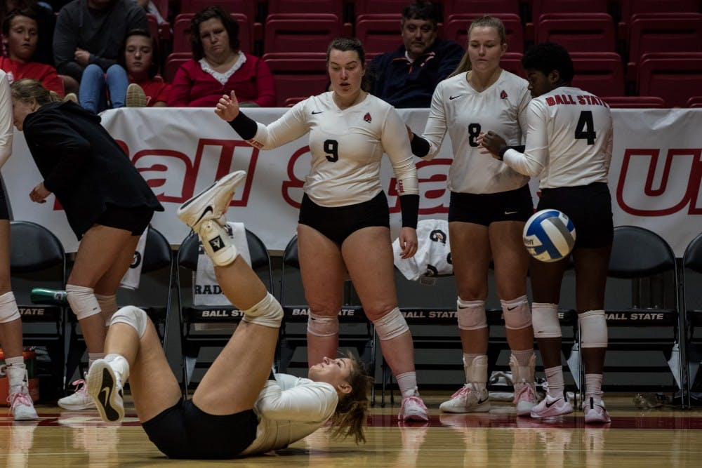 <p>After a misplaced return, Ball State Women's Volleyball scrambled to keep the ball in play Oct. 12, 2018, in John E. Worthen Arena. The Cardinals are now 19-7 on the season and 10-3 in conference play. Eric Pritchett,DN</p>