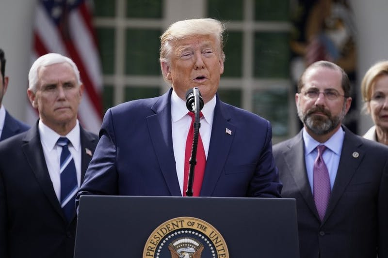 President Donald Trump speaks during a news conference about the coronavirus in the Rose Garden of the White House, March 13, 2020, in Washington. (AP Photo/Evan Vucci)