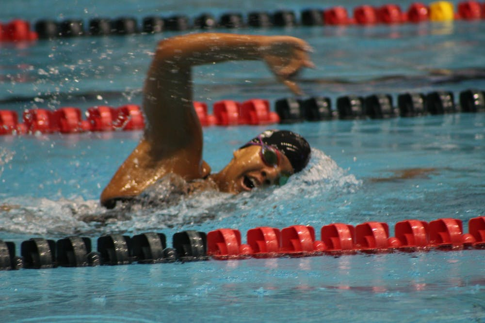 Sophomore Cassidy Blackwin swims the women's 1,000-yard freestyle at the IUPUI Natatorium in a tri-meet on Jan. 5. Blackwin finished in eighth place with a time of 10:59.37. Patrick Murphy, DN