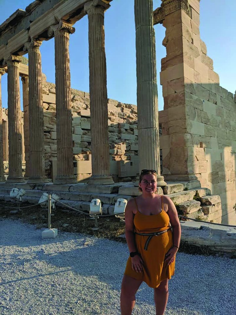 Haley Elgin, junior marketing major, climbed nearly 500 feet to reach the top of the Acropolis of Athens during her study abroad trip throughout Greece. The Acropolis of Athens is an ancient citadel where several ancient monuments, such as the Parthenon, are located. Haley Elgin, Photo Provided