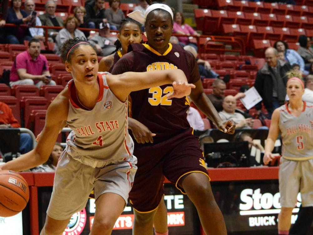 Sophomore Nathalie Fontaine looks for an open teammate against Central Michigan Feb. 6 at Worthen Arena. DN PHOTO SAMANTHA BLANKENSHIP