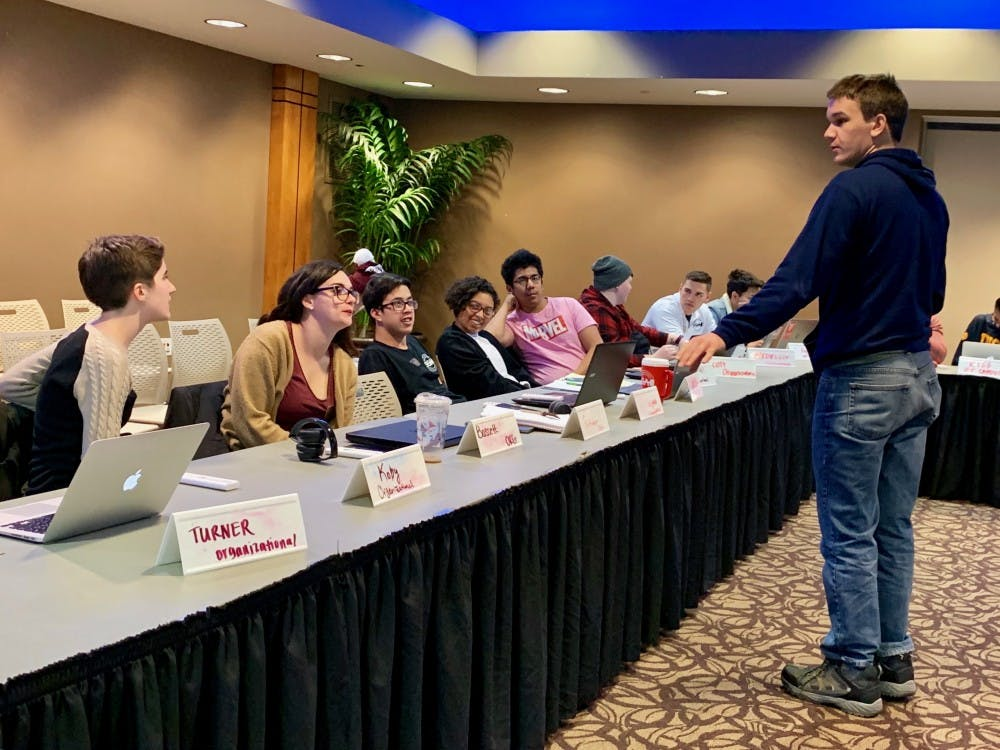 Senators discuss proposed a Title IX changes at Wednesday's SGA meeting. SGA called for Ball State to oppose the proposed changes made by the Department of Education. Liz Rieth, DN