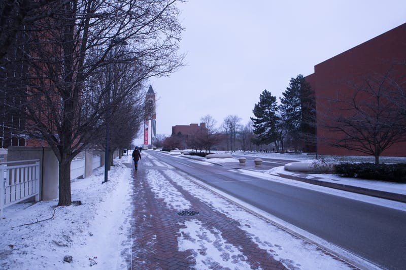 A student walks to class Jan. 29, 2019 on Ball State's campus. The National Weather Service issued a winter weather advisory Nov. 11-12, 2019, warning of 2-3 inches of snow, dramatically colder temperatures and hazardous road conditions. Scott Fleener, DN File