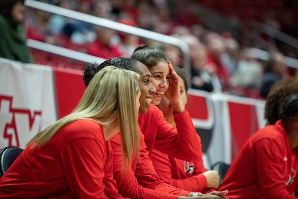 <p>Ball State players joke around on the sideline, Jan. 25, 2020, in John E. Worthen Arena. Ball State beat Miami of Ohio 80-63. <strong>Jaden Whiteman, DN</strong></p>