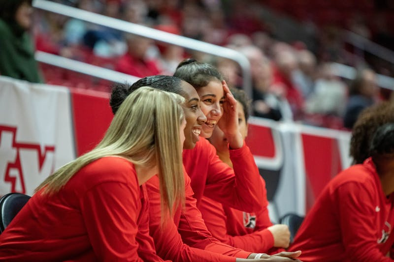 Ball State players joke around on the sideline, Jan. 25, 2020, in John E. Worthen Arena. Ball State beat Miami of Ohio 80-63. Jaden Whiteman, DN