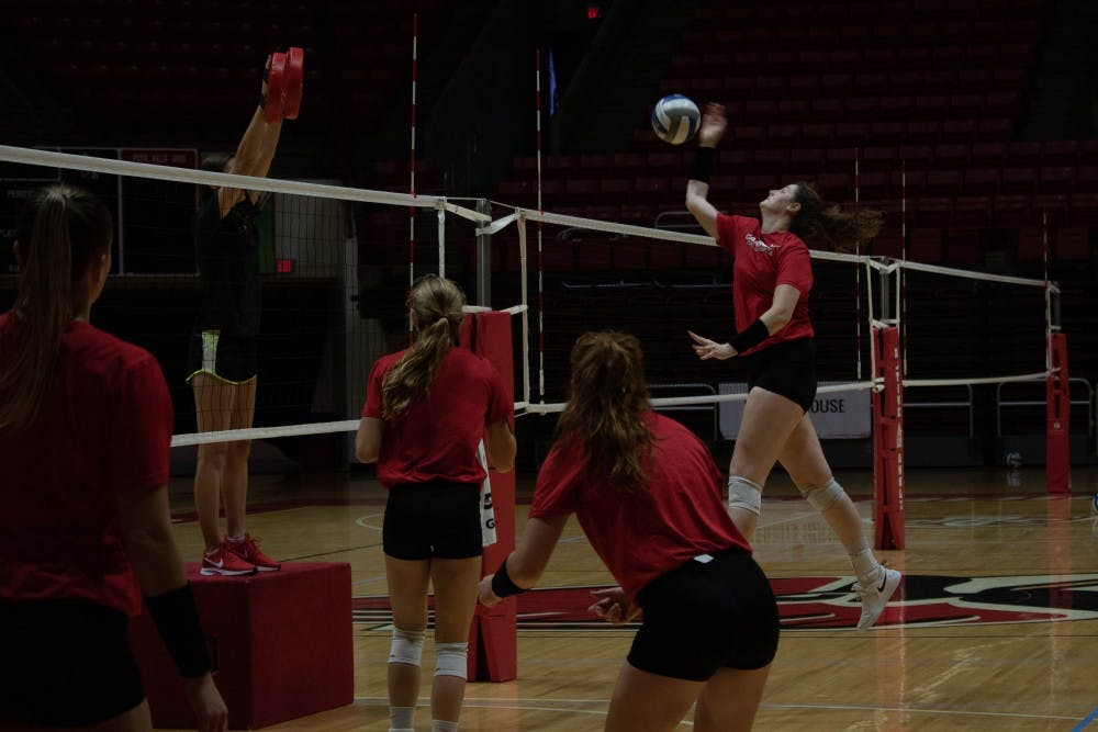 Ball State University Woman's Volleyball team practices Wednesday, Sept. 5, 2018 at Worthen Arena. The team will play in the Active Ankle Challenge this weekend. Rebecca Slezak,DN