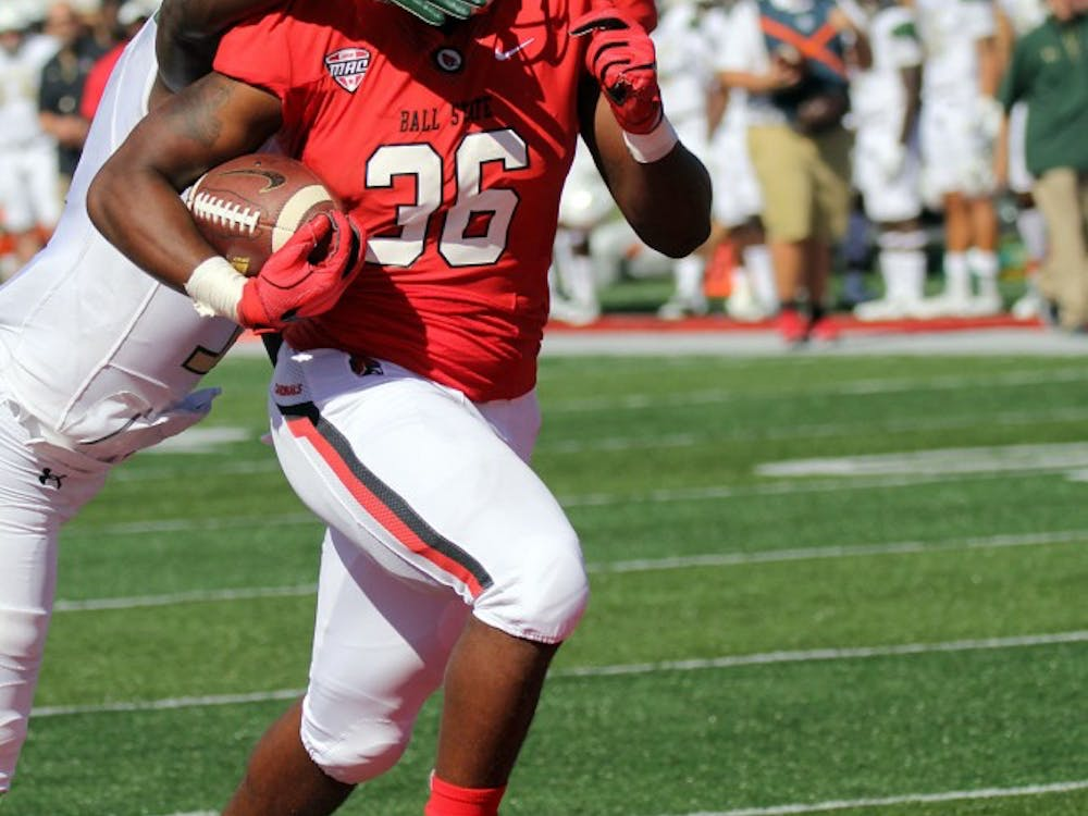 Ball State freshman running back Caleb Huntley scores with 2:05 left in the second quarter during the Cardinals' game against UAB on Sept. 9 at Scheumann Stadium. Huntley's touchdown put Ball State up 21-17. Paige Grider, DN File