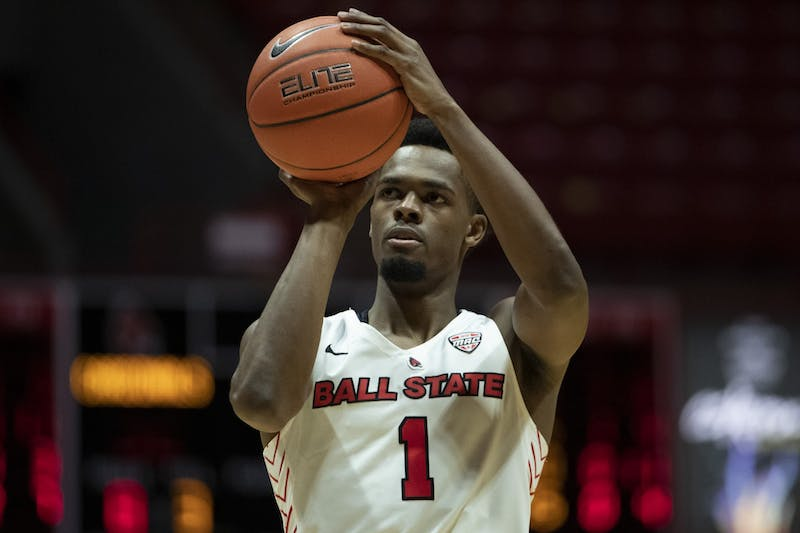 Ball State Cardinals redshirt fifth-year guard K.J. Walton shoots a free throw during the first half against the Ohio University Bobcats Jan. 2, 2020, at John E. Worthen Arena. The Cardinals lost the Bobcats 78-68. Jacob Musselman, DN