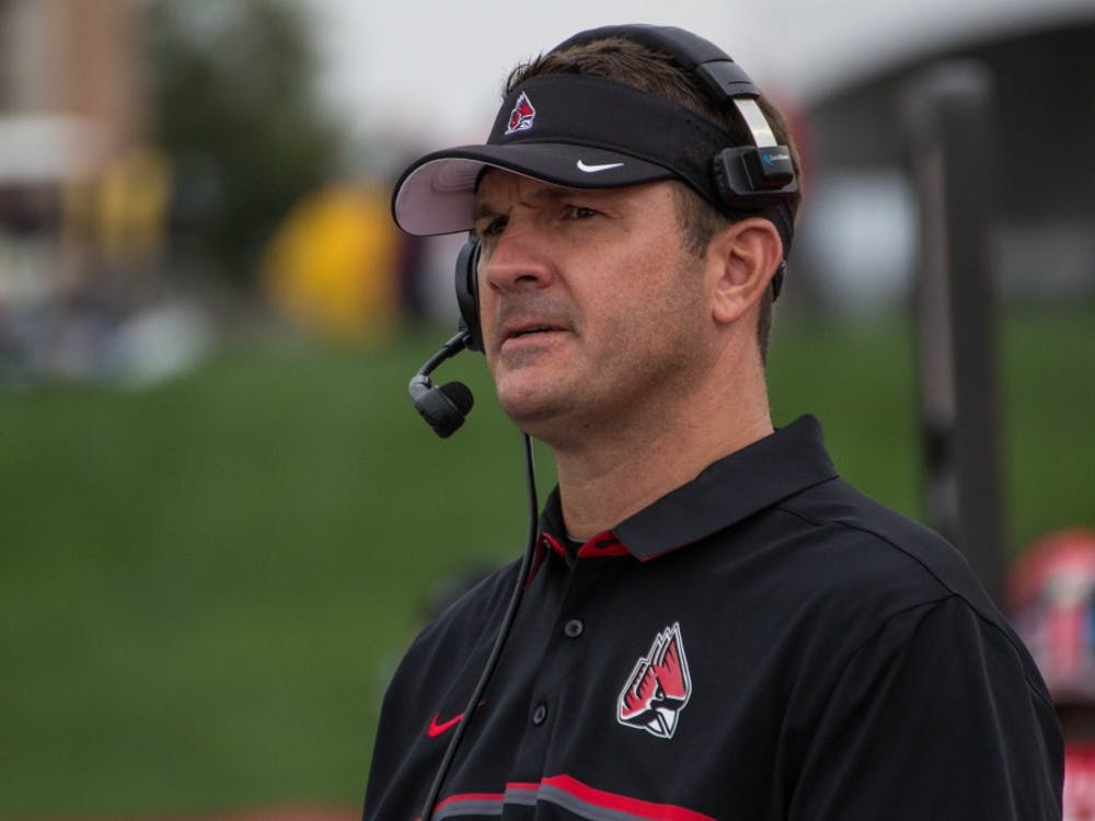 Ball State's new head football coach Mike Neu coaches from the sidelines during the game against Northern Illinois on Oct. , 2017 in Scheumann Stadium. Grace Ramey // DN File