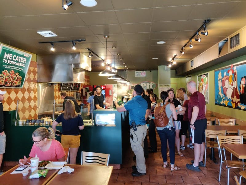 People stop by Pita Pit May 30, 2019, to show their support for the restaurant. The restaurant previously announced that they will be closing, but decided to remain open a little longer due to support from the community. Rohith Rao, DN