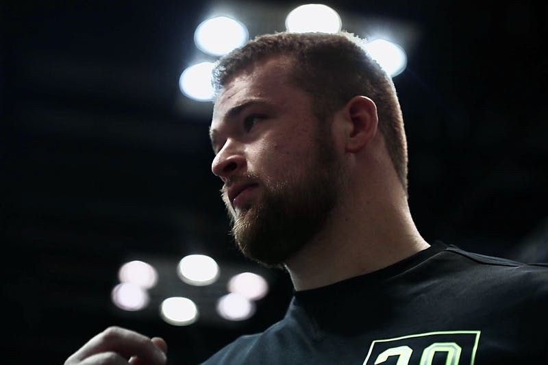 Former Ball State offensive lineman Danny Pinter walks into the media room Feb. 27, 2020, at the Indiana Convention Center in Indianapolis, Indiana. Pinter was one of the 52 offensive lineman selected to participate in the NFL Scouting Combine. Jacob Musselman, DN