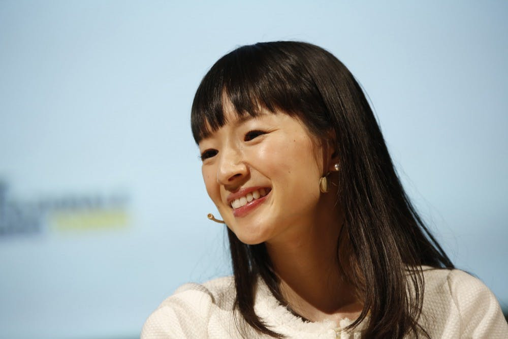 "Japanese writer Marie Kondo during her speech at the XXIX International Book Fair on May 14, 2016, in Turin, Italy. Her new Netflix series ""Tidying Up With Marie Kondo,"" embraces the minimalist lifestyle called the KonMari Method. (Marco Piraccini/Mondadori Portfolio/Zuma Press/TNS)"