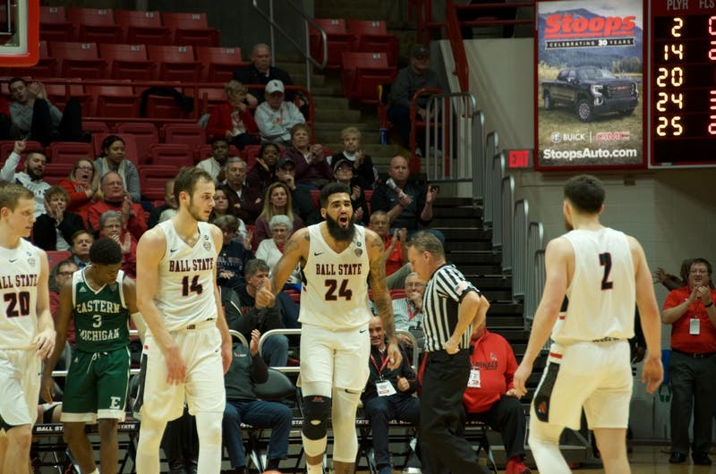 Redshirt senior Trey Moses celebrates with his teammates after drawing a foul in a game versus Eastern Michigan on Jan. 8, 2019 at Worthen Arena. The Cardinals lost the game, 84-82. Jack Williams, DN