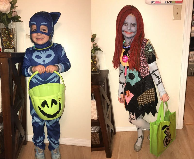 "(Left to right) Addison Burns, 4, dresses up as Catboy from the children's television series, ""PJ Masks,"" and her sister Caitlyn dress up as Sally, the ragdoll from ""A Nightmare Before Christmas."" Addison is scared of skeletons while Caitlyn is scared of zombies. Kristy Burns, Photo Provided"