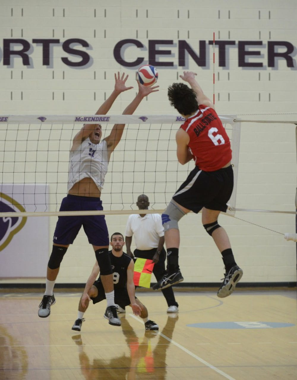 <p>The&nbsp;Ball State Men's Volleyball team traveled to McKendree University on Feb. 5in Lebanon, IL. The Cardinals won in five games, after coming back from a two game deficit. DN PHOTO ALLISON COFFIN</p>