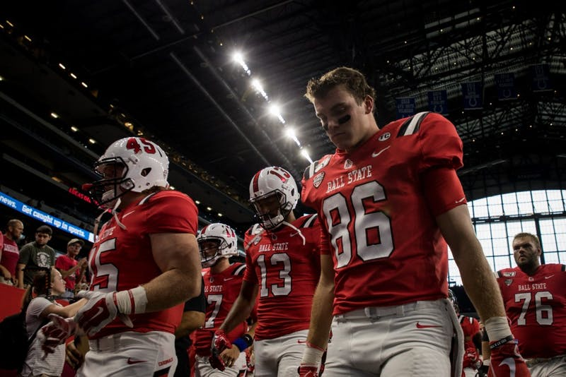 The Ball State football team walks into the locker room Aug. 31, 2019 at Lucas Oil Stadium for half time. The Cardinals played Indiana University for the season opener. Eric Pritchett, DN