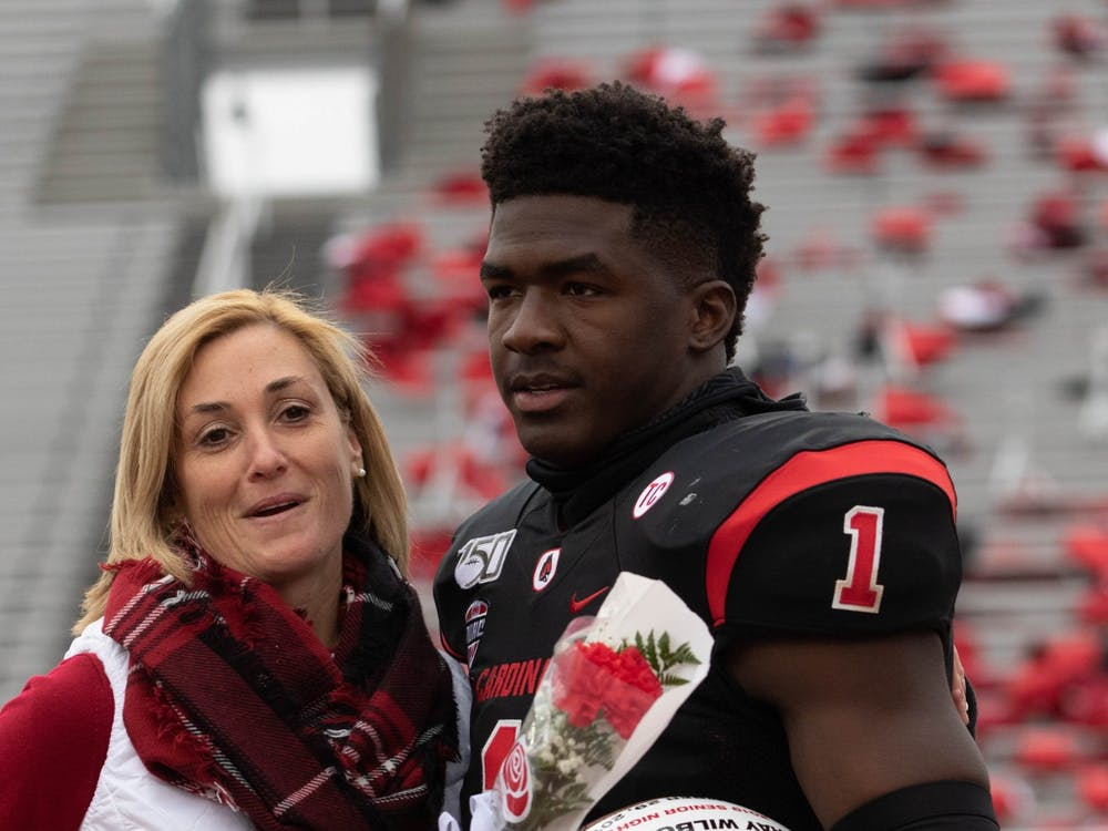 Senior Safety Ray Wilborn hugs Ball State Director of Athletics Beth Goetz during Senior Night, Nov. 29, 2019, at Scheumann Stadium. Jacob Musselman, DN