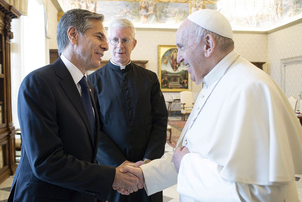 Pope Francis (right) meets US Secretary of State Antony Blinken in a private audience at the Vatican in Rome, Italy on June 28, 2021. (Vatican Media/IPA via ZUMA Press/TNS)
