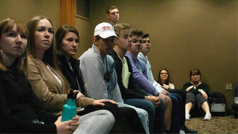 Members of Greek Life organizations look on from the gallery at the Student Government Association (SGA) meeting Nov. 20, 2019, at the L.A. Pittenger Student Center. A resolution was introduced to the SGA that would penalize Greek Life organizations that violate Ball State's Code of Student Rights and Responsibilities. John Lynch, DN