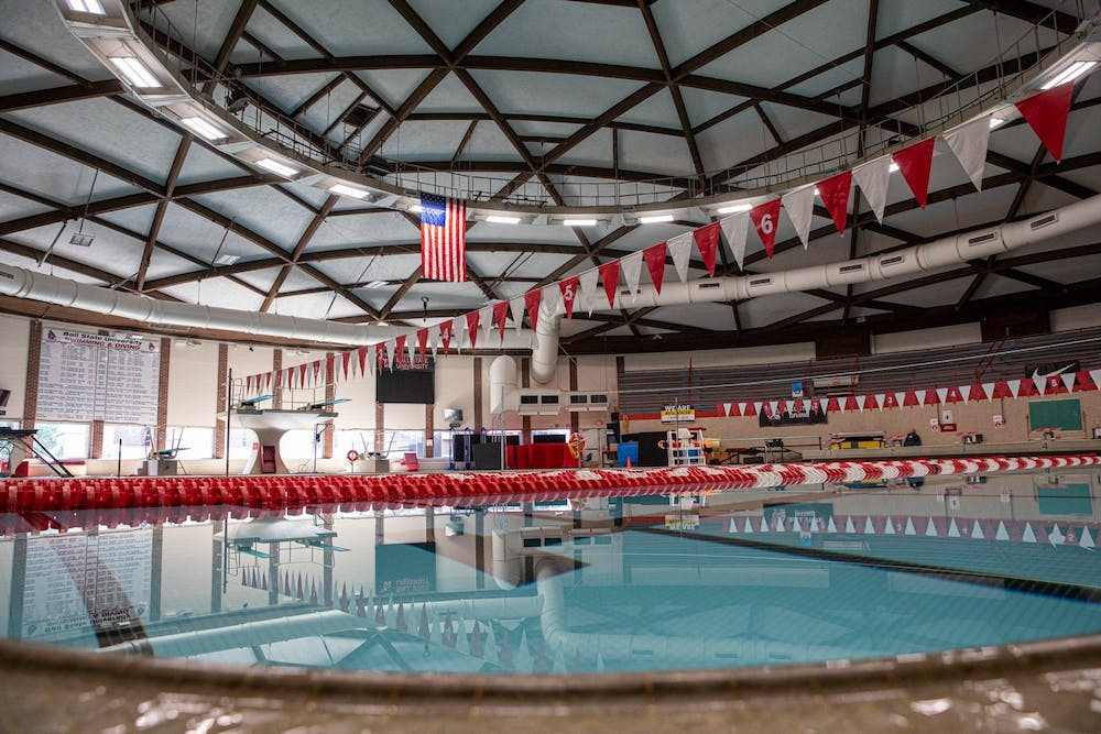 <p>Water stands still in the pool Sept. 22, 2020, at Lewellen Aquatic Center. This facility is where the men&#x27;s and women&#x27;s swim teams practice and compete. <strong>Jacob Musselman, DN</strong></p>