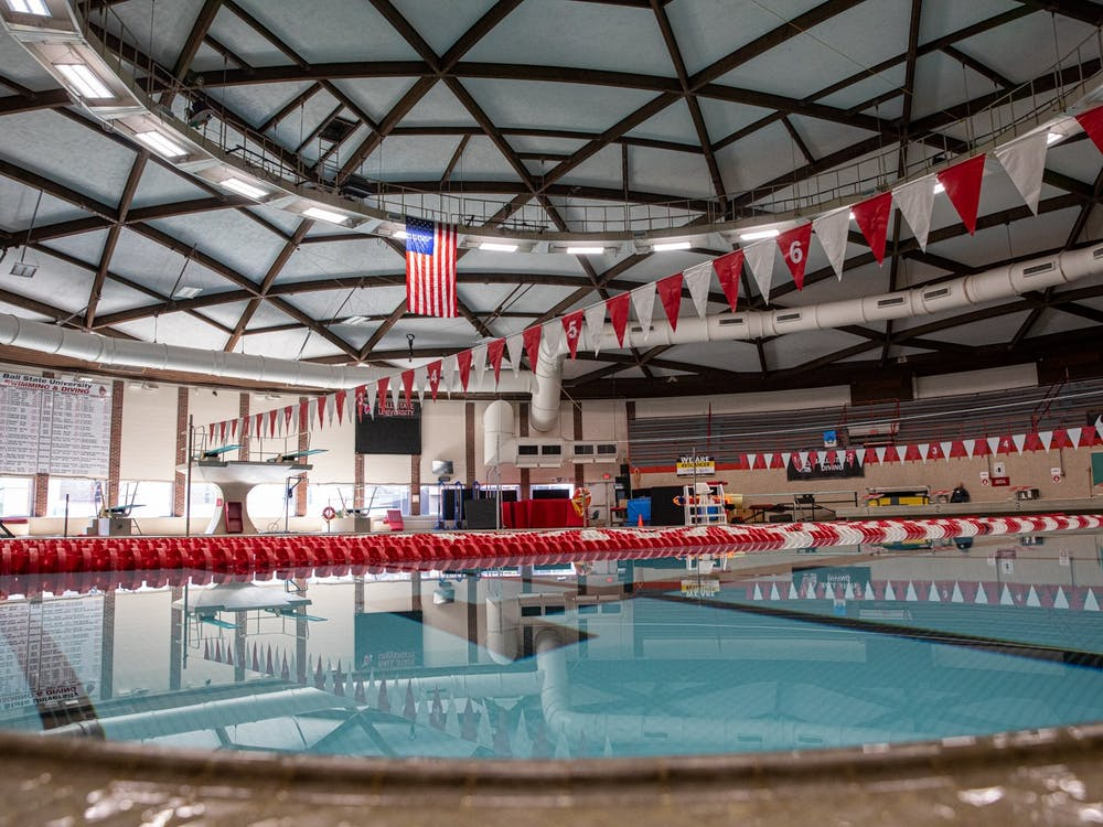 Water stands still in the pool Sept. 22, 2020, at Lewellen Aquatic Center. This facility is where the men's and women's swim teams practice and compete. Jacob Musselman, DN