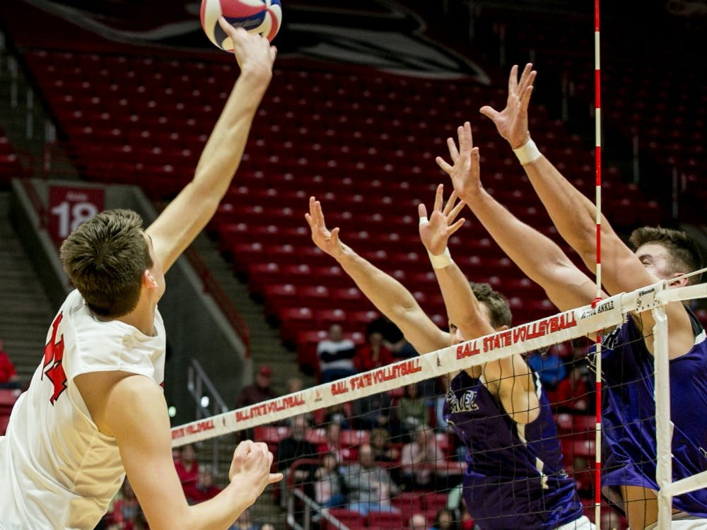 Ball State's mens volleyball team faced McKendree April 14 for the MIVA Tournament Quarterfinals in John E. Worthen Arena.