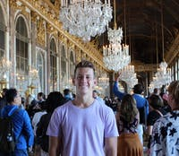 Zach Wishart, soon-to-graduate history and social studies education major, poses for a photo at the Palace of Versailles, in Versailles, France. Wishart will be traveling to Tay Ninh, Vietnam, for a Fulbright Assistantship teaching English to students in the city. Zach Wishart, Photo Provided