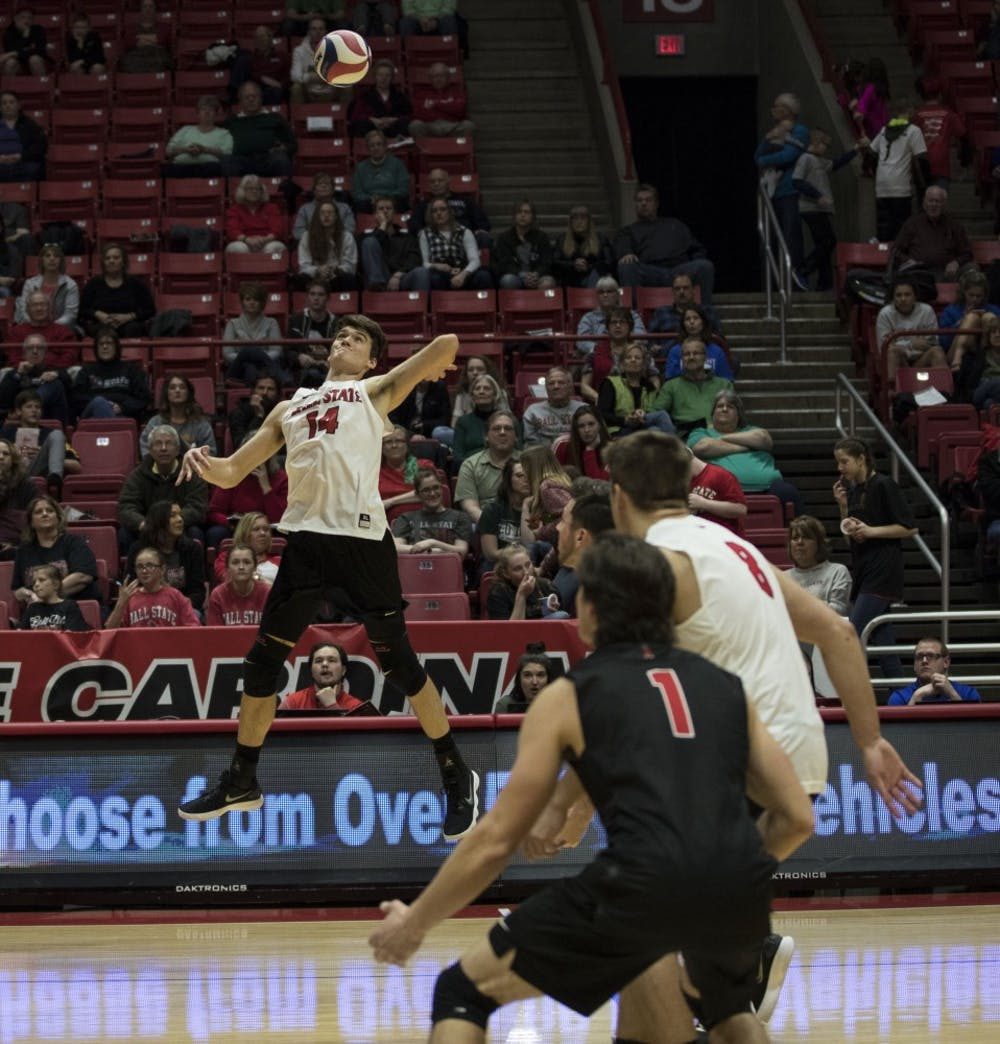 <p>Ball State sophomore outside attacker Matt Szews spikes the ball at the game verses Fort Wayne on March 17. Ball State won three sets in a row. <strong>Rachel Ellis, DN&nbsp;</strong></p>