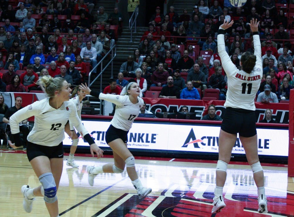Junior setter Amber Seaman sets the ball for her teammates at the Ball State Women's Volleyball game against Akron Nov. 10, 2018, at John E. Worthen Arena. The Cardinals ended the regular season with a record of 21 wins and 8 losses. Tailiyah Johnson,DN