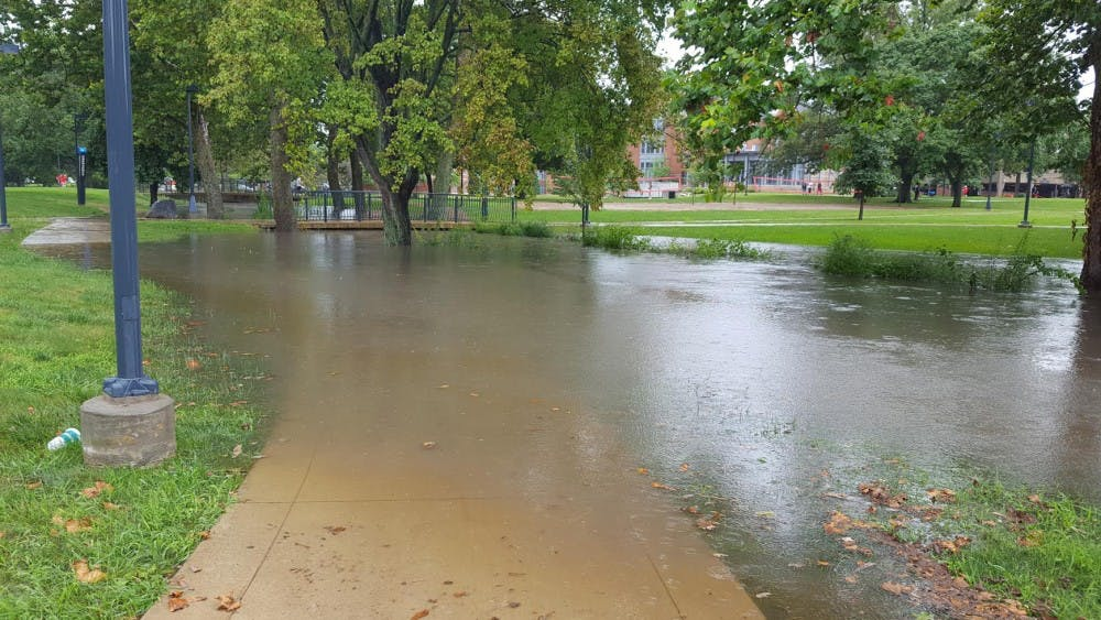 <p>Muncie experienced severe flash flooding Sunday night due to evening thunderstorms. An estimated 2 1/2 to three inches of rainfall came down in less than two hours, according to the National Weather Service. <em>Photo Provided // Sara Barker</em></p>