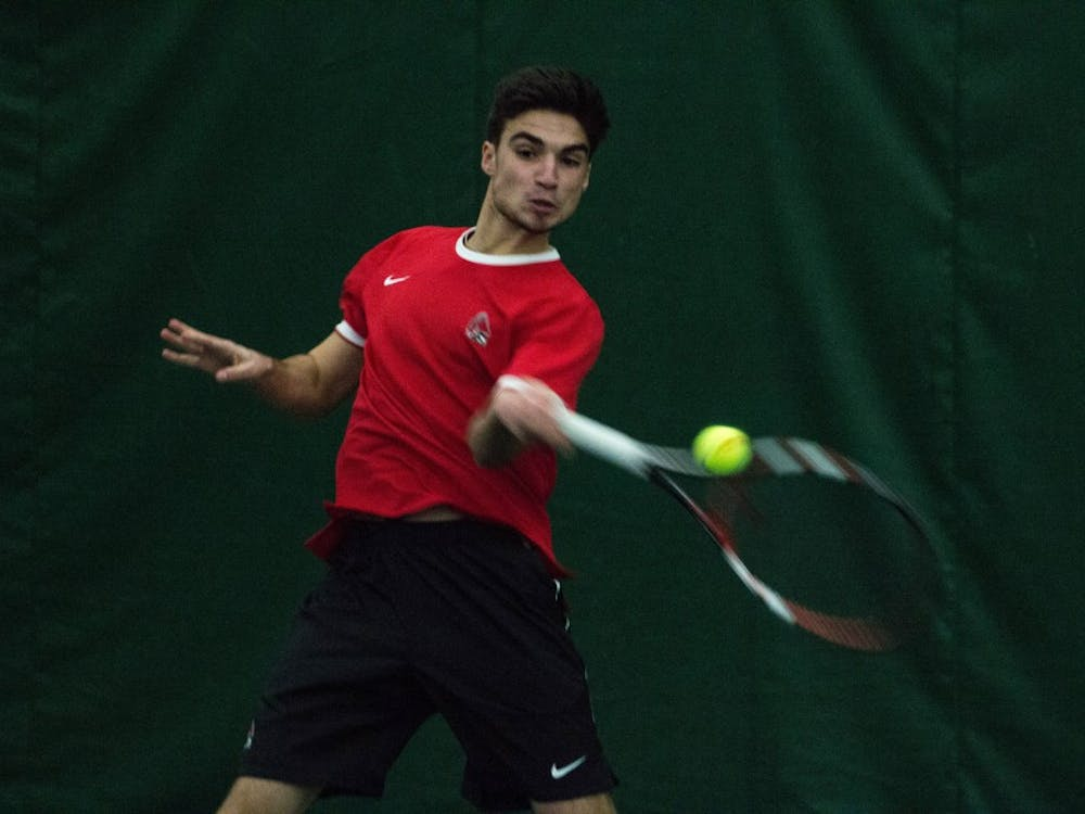 Sophomore Marko Guzina won in straight sets during the match against Eastern Illinois' on Jan. 22 at Muncie's Northwest YMCA. The Cardinals are playing in the Louisville Invitational Oct. 13- Oct. 15. Grace Ramey, DN File