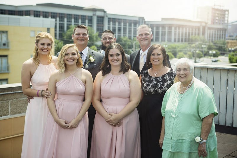Nulph and her family celebrate her older brother's wedding June, 2018 in Indianapolis.