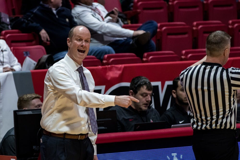 Ball State women's basketball head coach Brady Salle yells instructions to his team in the fourth quarter of their game against Ohio University Jan. 12, in John E. Worthen Arena. Both men's and women's basketball competed which resulted in Ohio winning both games. Eric Pritchett,DN