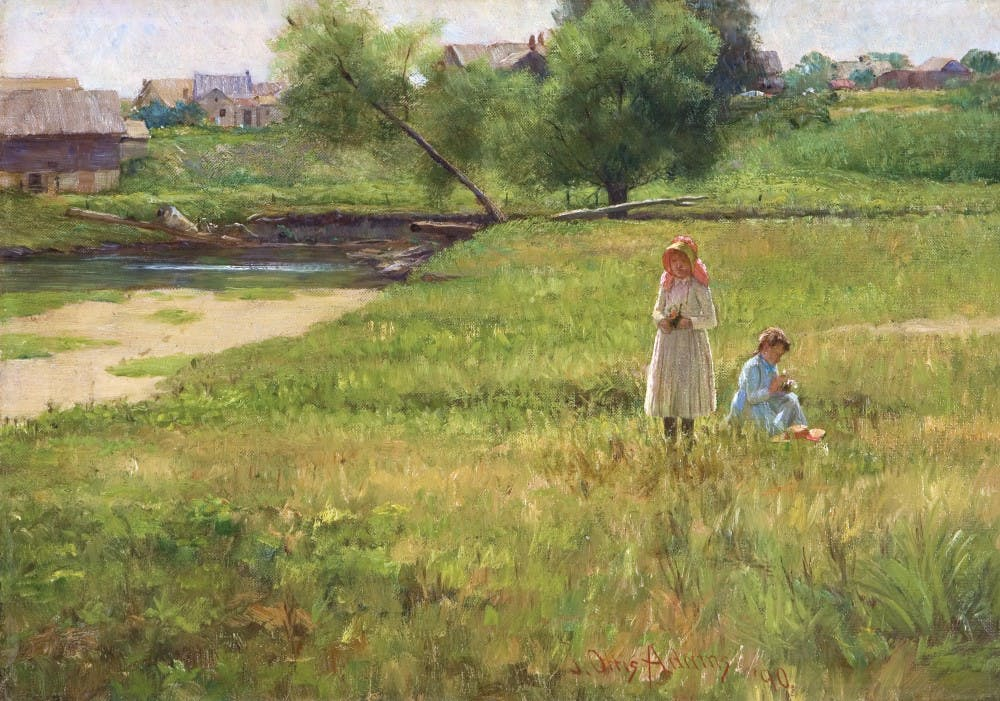"""John Ottis Adams painted """"Summertime"""" in 1890 when he was 39 years old. The painting is oil on canvas and approximately 14.5 inches high and 20.3 inches wide. Rachel Buckmaster, Photo Provided."""